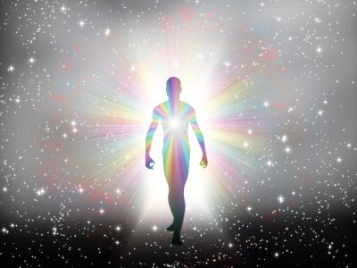 Man in column of light